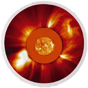 Two Coronal Mass Ejections Round Beach Towel by Solar & Heliospheric Observatory consortium (ESA & NASA)