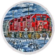 Two Cp Rail Engines Hdr Round Beach Towel