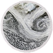 Two Cyclones Forming Round Beach Towel