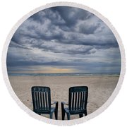 Two Deck Chairs At Sunrise On The Beach Round Beach Towel