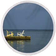 Two Deck Chairs In Conversation Round Beach Towel