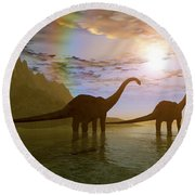 Two Diplodocus Dinosaurs Wade Round Beach Towel