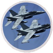 Two Fa-18c Hornets In Flight Round Beach Towel