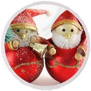 Two Father Christmas Decorations Round Beach Towel