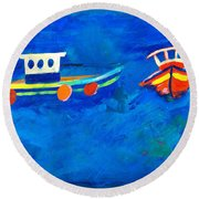 Two Fishing Boats At Sea Round Beach Towel