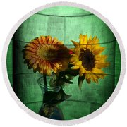 Two Flowers On Texture Round Beach Towel