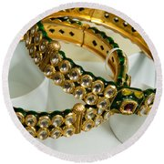 Two Green And Gold Bangles On Top Of Each Other Round Beach Towel