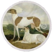 Two Greyhounds In A Landscape Round Beach Towel