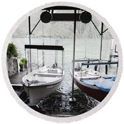 Two Hanging Boats Round Beach Towel