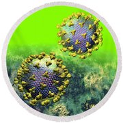 Two Hiv Particles On Bright Green Round Beach Towel