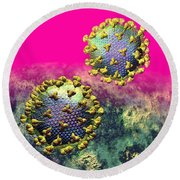 Two Hiv Particles On Hot Pink Round Beach Towel
