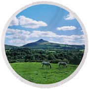 Two Horses Grazing In A Field Round Beach Towel