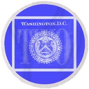 Two In Negative Blue Round Beach Towel