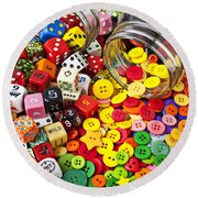 Two Jars Dice And Buttons Round Beach Towel