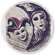 Two Masks On Sheet Music Round Beach Towel