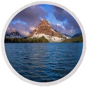Two Medicine Morning Panorama Round Beach Towel