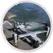 Two Mv-22 Ospreys Land On The Flight Round Beach Towel