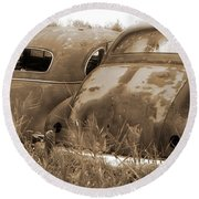 Two Old Rear Ends-sepia Round Beach Towel