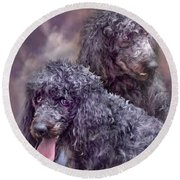 Two Poodles Round Beach Towel