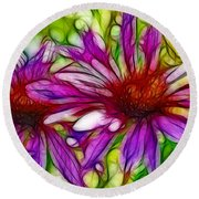 Two Purple Daisy's Fractal Round Beach Towel