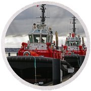 Two Red Tugs Round Beach Towel