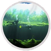 Two Scuba Divers In The Cenote System Round Beach Towel by Karen Doody