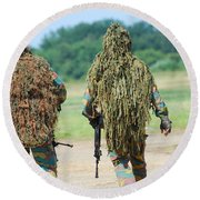 Two Snipers Of The Belgian Army Dressed Round Beach Towel