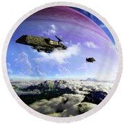 Two Spacecraft Prepare To Depart Round Beach Towel