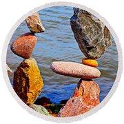 Two Stacks Of Balanced Rocks Round Beach Towel