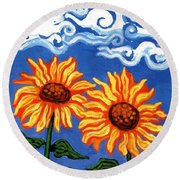 Two Sunflowers Round Beach Towel by Genevieve Esson