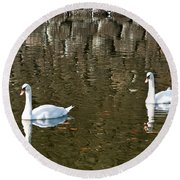 Two Swan Floating On A Pond  Round Beach Towel