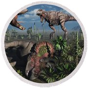 Two T. Rex Dinosaurs Confront Each Round Beach Towel by Mark Stevenson