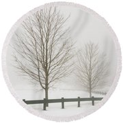 Two Trees And Fence In Winter Fog Round Beach Towel