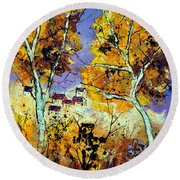 Two Trees In Fall Round Beach Towel