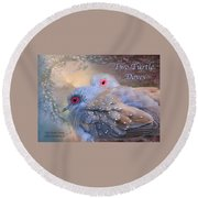Two Turtle Doves Card Round Beach Towel