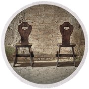 Two Wooden Chairs Round Beach Towel