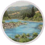 Tyee Morning Round Beach Towel by Karen Ilari