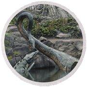 Tylosaurus And Elasmosaurus Round Beach Towel