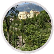 Tyrolean Alps And Palace Round Beach Towel