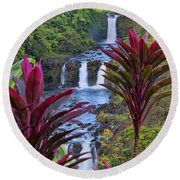 Umauma Falls Big Island Hawaii Round Beach Towel
