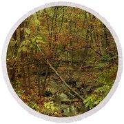 Unami Creek Feeder Stream In Autumn - Green Lane Pa Round Beach Towel