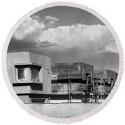 Under Construction Bw Palm Springs Round Beach Towel