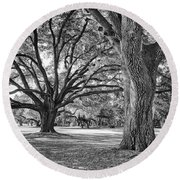 Under The Oaks Round Beach Towel