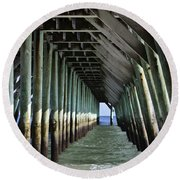 Under The Pier Round Beach Towel