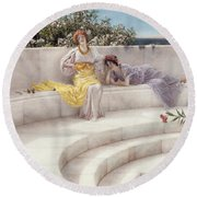 Under The Roof Of Blue Ionian Weather Round Beach Towel by Sir Lawrence Alma-Tadema