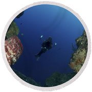Underwater Photographer At The Entrance Round Beach Towel
