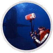 Underwater Photographer Takes Photos Round Beach Towel by Michael Wood
