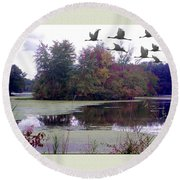Unicorn Lake - Geese Round Beach Towel