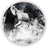 Unicorn's Complexities Round Beach Towel by Lourry Legarde