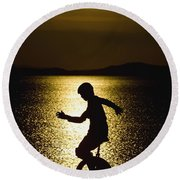 Unicycling Silhouette Round Beach Towel